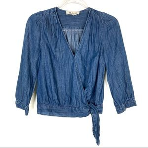 Madewell   Chambray Tie Wrap Top